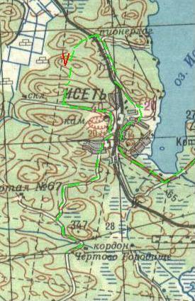 Карта движения от Чертова Городища до Коптяков.