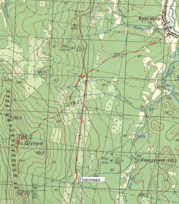 Карта передвижений в районе Шунута
